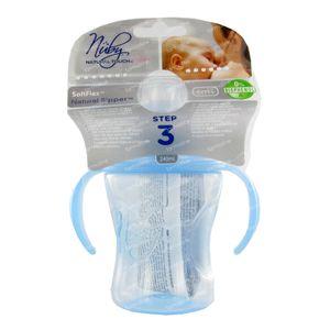 Nuby Cup Propyleen Anti-Leak + 2 Handles Blue 240ml 1 pieza