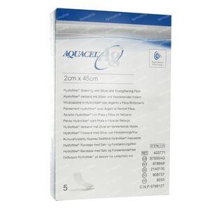 Aquacel Ag Pansement Hydrofiber Sterile + Renfort 2cm x 45cm 5 pièces