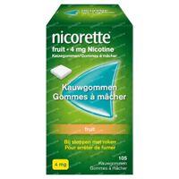 Nicorette® Fruit Kauwgom 4mg - bij Stoppen met Roken 105  kauwgoms
