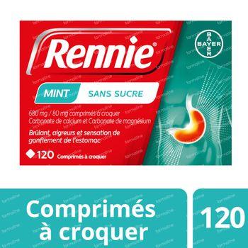 Rennie Mint sans Sucre - Brûlures d'Estomac & Remontées Acides 120 comprimés à croquer