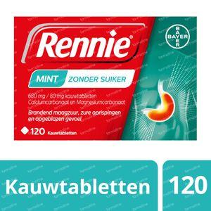 Rennie Mint zonder Suiker - Brandend Maagzuur & Zure Oprispingen 120 kauwtabletten