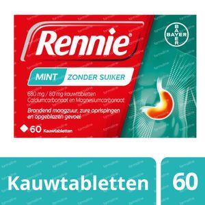 Rennie Mint zonder Suiker - Brandend Maagzuur & Zure Oprispingen 60 kauwtabletten