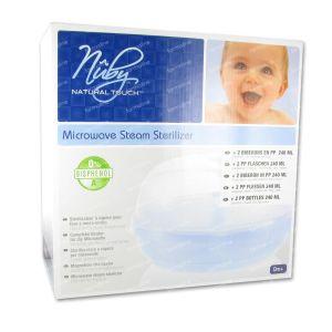 Nuby Natural Touch Sterilisator + 2 x 240Ml +Teat 1 item