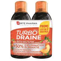 Forté Pharma Turbodraine grüner Tee-Pfirsich Duo-pack 2x500 ml