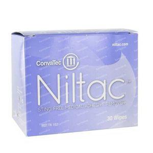 Trio Niltac Remover Med. Colle Sans Alcool Lingettes 30 pièces