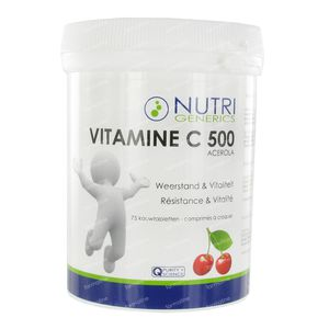 Nutrigenerics Vitamin C500 75 St Compresse