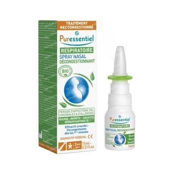 Puressentiel Respiration Spray Nasal Décongestionnant Rhume- Rhinite - Sinusite - Rhinopharyngite Bio 15 ml