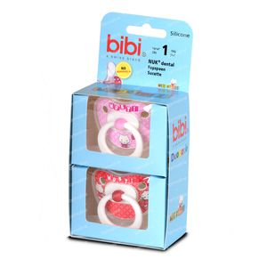 Bibi Pacifier Duo Musti Rose-Red 6M 2 unidades