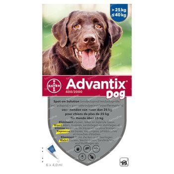 Advantix 400/2000 Spot-On Solution Chien 25<40kg 6x4,0 ml