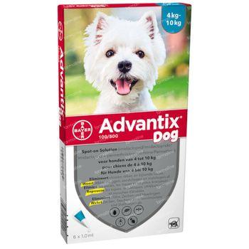 Advantix 100/500 Spot-On Solution Chien 4<10kg 6x1,0 ml
