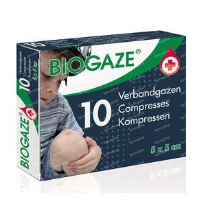 Biogaze Verbandgaas 5x5cm 10 stuks