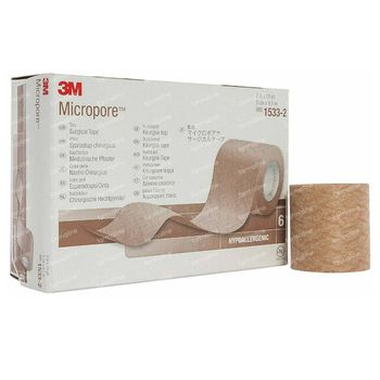 3M Micropore Sparadrap Chirurgical Couleur Chair 5cmx9,14m 6 pansements
