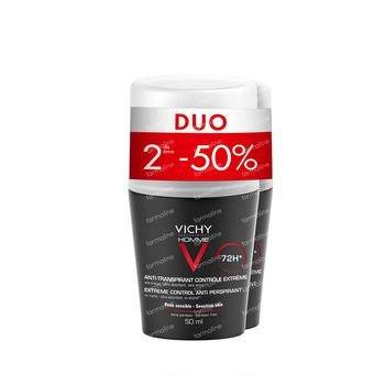 Vichy Homme Duo Deo Roller Extreme Promo 2ième -50% 2x50 ml rouleau