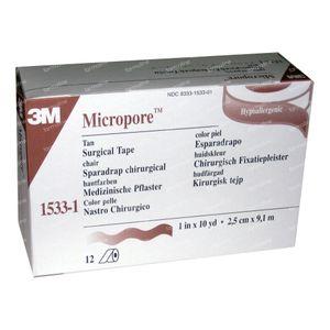 3M Micropore Colore della Pelle 2.5 x 915 cm 12 cerotti