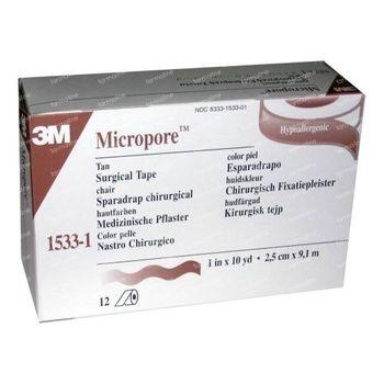3M Micropore Chirurgische Fixatiepleister Huidskleur 2,5cm x 9,1m 1533-1 12 pleisters