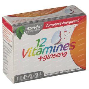 Nutrisanté 12 Vitamines + Ginsgeng Tube 24 St compresse effervescenti