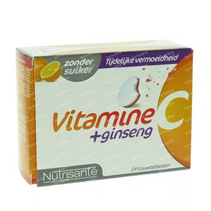 Nutrisanté Vitamine C + Ginseng 24 St kauwtabletten