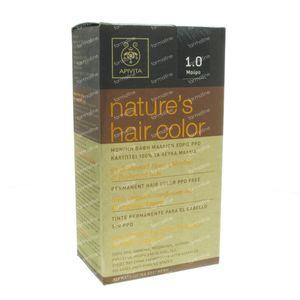 Apivita Natuurlijke Haarkleuring N1.0 Zwart 1 St