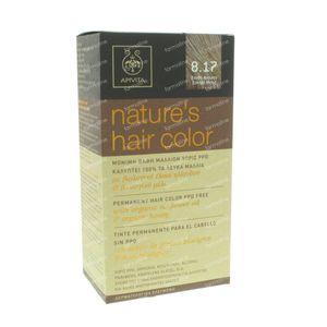 Apivita Natuurlijke Haarkleuring N8.17 Licht Blond As Beige 1 stuk
