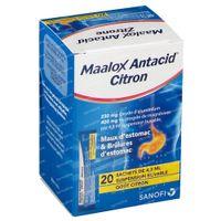 Maalox Antacid Citroen 230mg/400mg per 4,3ml Suspensie - Voor Maagpijn 20  zakjes