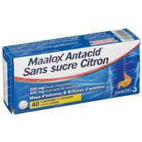 Maalox Antacid Suikervrij Citroen 200mg/400mg - Voor Maagzuur & Maagpijn 40  kauwtabletten