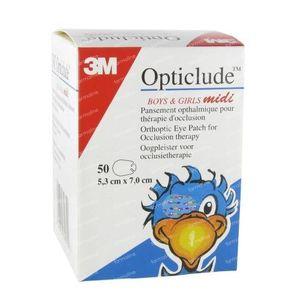 3M Opticlude Oogpleister Boys & Girls Midi 5,3cm x7cm 2538MPE 50 stuks