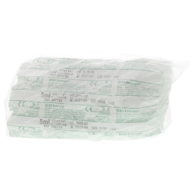BD Edmerald Disposable Syringe 5ml With Needle 22g 1 1/4 307733