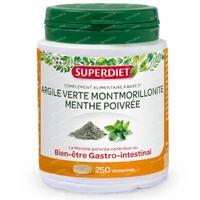 Superdiet Argile Verte Montmorillonite - Mente Poivrée 250  comprimés