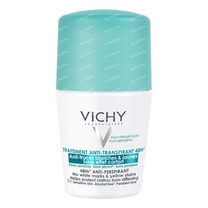 Vichy Deodorant Roll On Anti-Transpirant 48h Anti-Traces Jaunes et Blanches. 50 ml rouleau