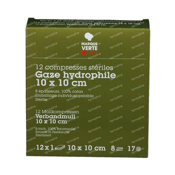 Marque V Compresse de Gaze Stérile 10x10 cm 12 pièces