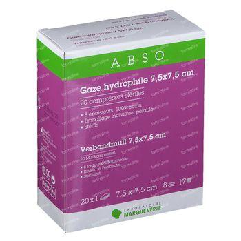 Laboratoire Marque Verte Abso Gaze Hydrophile Stérile 7,5x7,5cm 20 pièces
