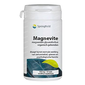 Springfield Magnevite Glycérophosphate de Magnésium 100mg 60 comprimés