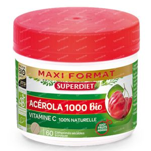Superdiet Acerola 1000 Bio Maxi Pot 60 tabletten