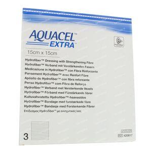 Aquacel Extra Steriel 15x15cm 420817 3 stuks