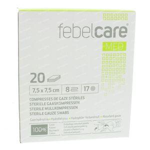 Febelcare Gaze Stérile 7,5x7,5cm 20 pièces
