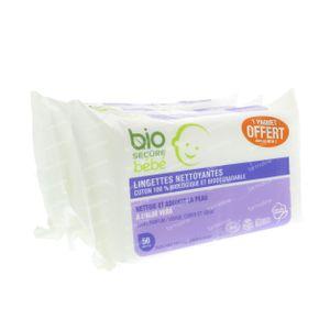 Bio Secure Bébé Lingettes 2+1 GRATUIT 3x50 pièces