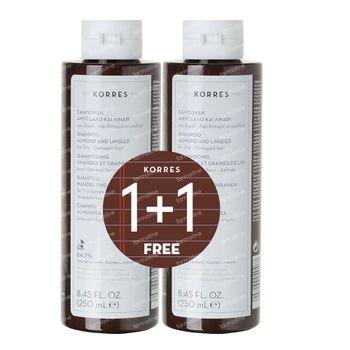 Korres KB Shampoo Amandel - Lijnzaad 1+1 GRATIS 2x250 ml