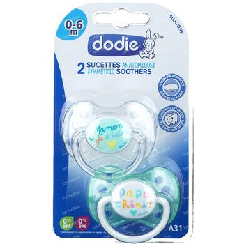 Dodie Sucette Silicone Message Jour 0-6M Duo 2 pièces