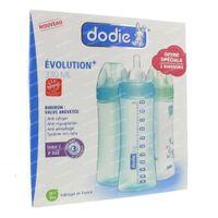 Dodie Saugflasche Evolution + Zitze 3 Loch Junge 1 Dose 3 st