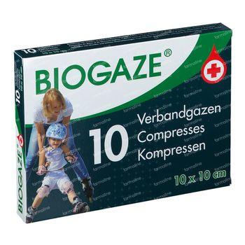 Biogaze Verbandgaas 10x10cm - Wonden, Lichte Huidbeschadigingen en Oppervlakkige Brandwonden 10 stuks