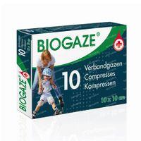 Image of Biogaze Verbandgaas 10x10cm - Wonden, Lichte Huidbeschadigingen en Oppervlakkige Brandwonden 10 stuks