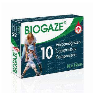 Biogaze Verbandgaas 10x10cm 10 stuks