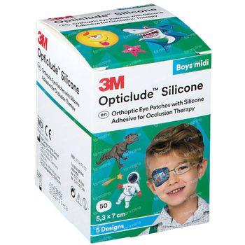 Opticlude Silicone Pansement Orthoptique Midi Boys 5,3cm x 7cm 2738PB50 50 st