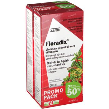Salus Floradix Élixir de Fer 2e -50% 2x500 ml