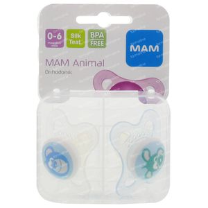 Sucette Mam Animaux 1 0-6M Duo Pack 2 pièces