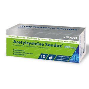 Acétylcystéine Sandoz 600mg Sachet 10 comprimés effervescents