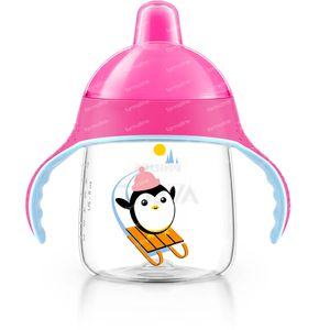 Avent Trink Cup Anti-Leak Pinguin Pink +12m 260 ml