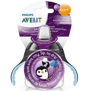 Avent Drinkbeker Anti-Lek Pinguin Zwart 6Maanden+ SCF751/03 200 ml