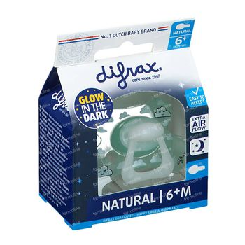 Difrax Sucette Sleepy Baba Natural Glow in the Dark 6 Mois+ 1 pièce