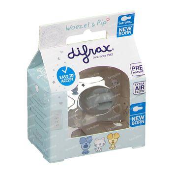 Difrax Sucette Natural Woezel&Pip -2/+2 M 1 pièce